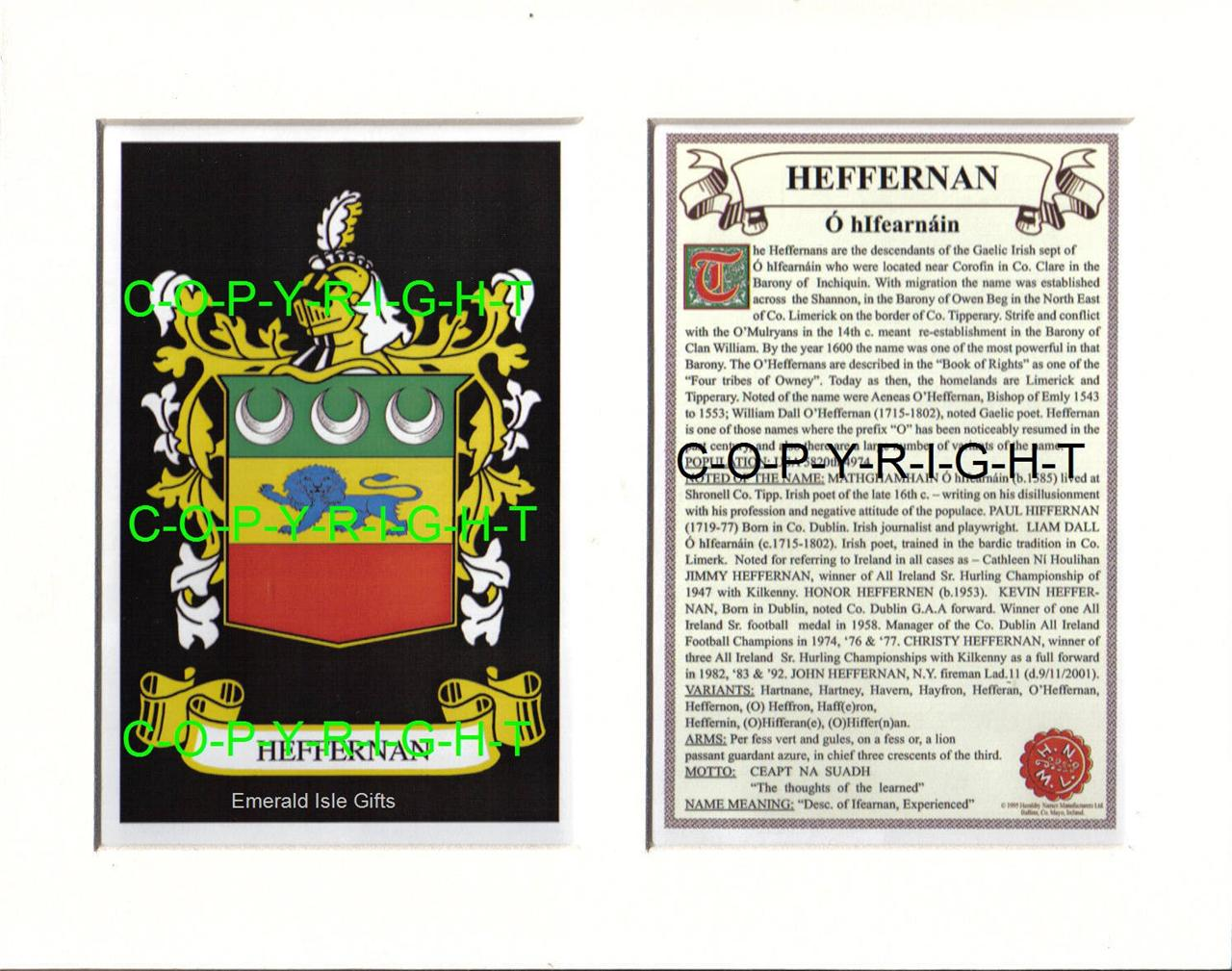 HEFFERNAN-Family-Coat-of-Arms-Crest-History-Available-Mounted-or-Framed