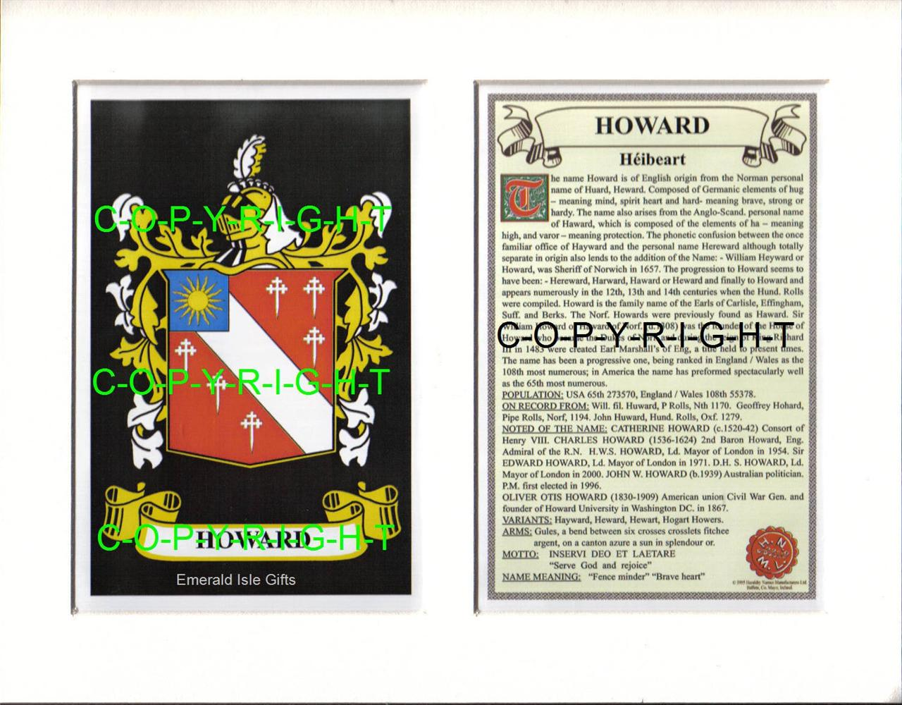 HOWARD-Family-Coat-of-Arms-Crest-History-Available-Mounted-or-Framed