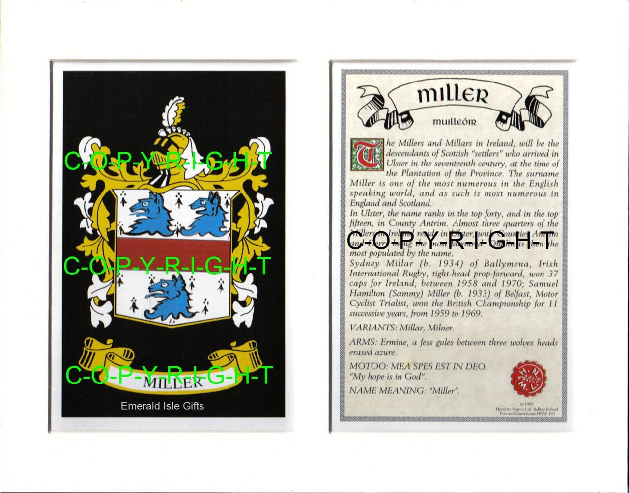 Miller family coat of arms crest history available mounted or miller family coat of arms crest history available buycottarizona Image collections