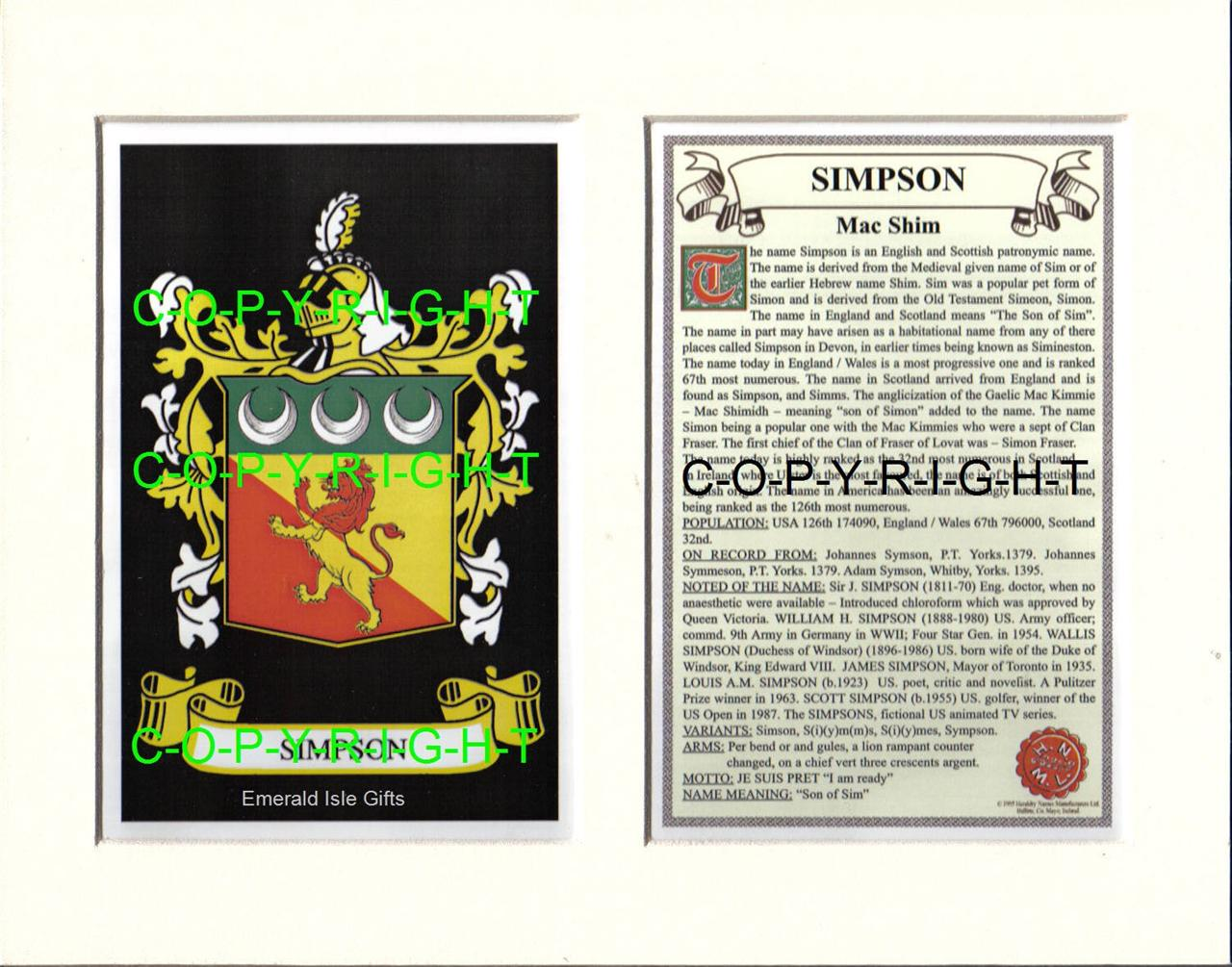 SIMPSON-Family-Coat-of-Arms-Crest-History-Available-Mounted-or-Framed