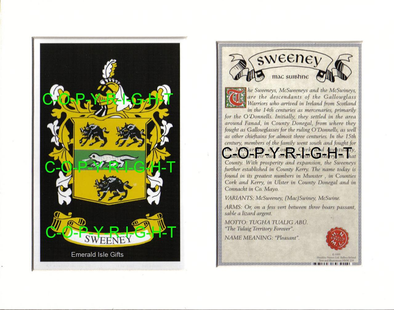 SWEENEY-Family-Coat-of-Arms-Crest-History-Available-Mounted-or-Framed
