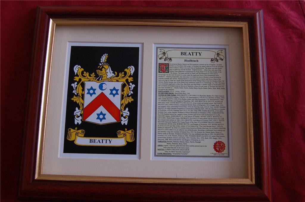 BEATTY-Family-Coat-of-Arms-Crest-History-Available-Mounted-or-Framed