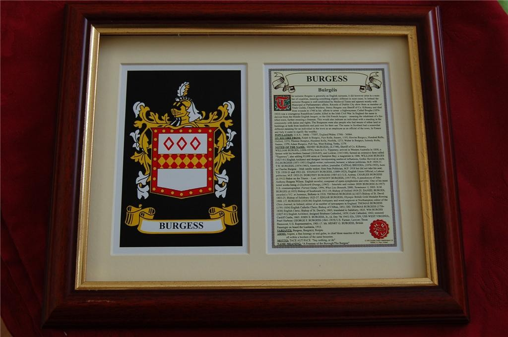 BURGESS-Family-Coat-of-Arms-Crest-History-Available-Mounted-or-Framed