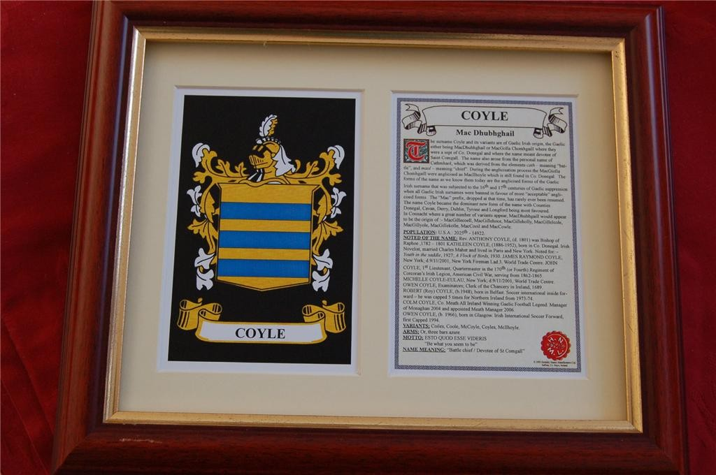 COYLE-Family-Coat-of-Arms-Crest-History-Available-Mounted-or-Framed