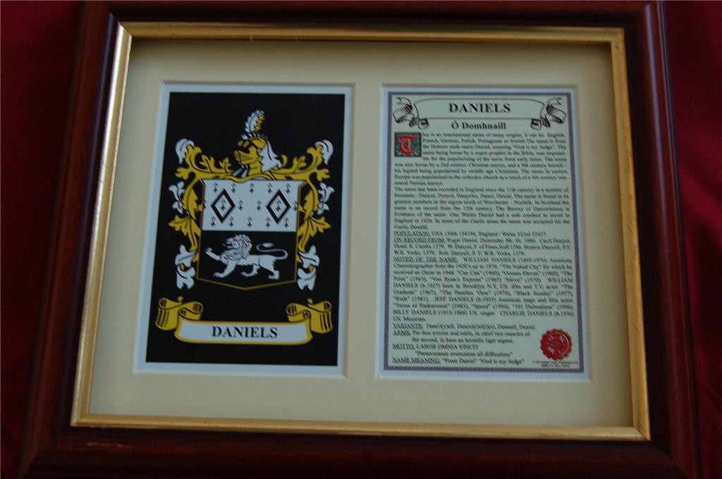 DANIELS-Family-Coat-of-Arms-Crest-History-Available-Mounted-or-Framed