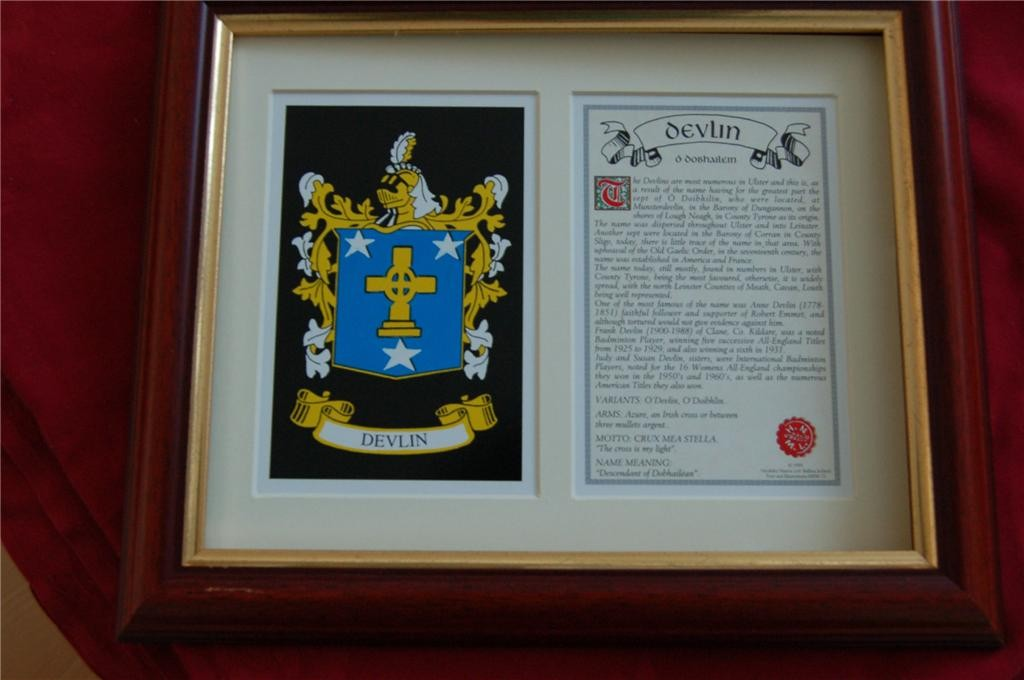 DEVLIN-Family-Coat-of-Arms-Crest-History-Available-Mounted-or-Framed