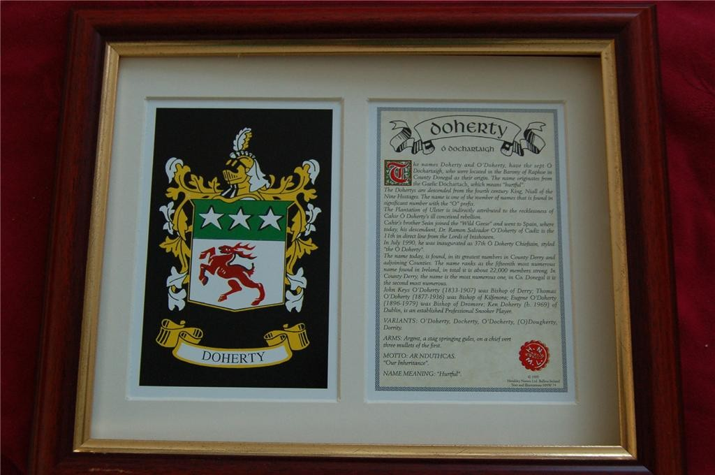 DOHERTY-Family-Coat-of-Arms-Crest-History-Available-Mounted-or-Framed