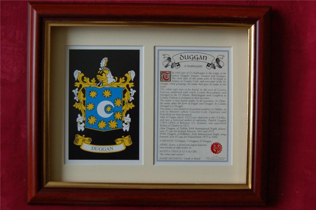 DUGGAN-Family-Coat-of-Arms-Crest-History-Available-Mounted-or-Framed