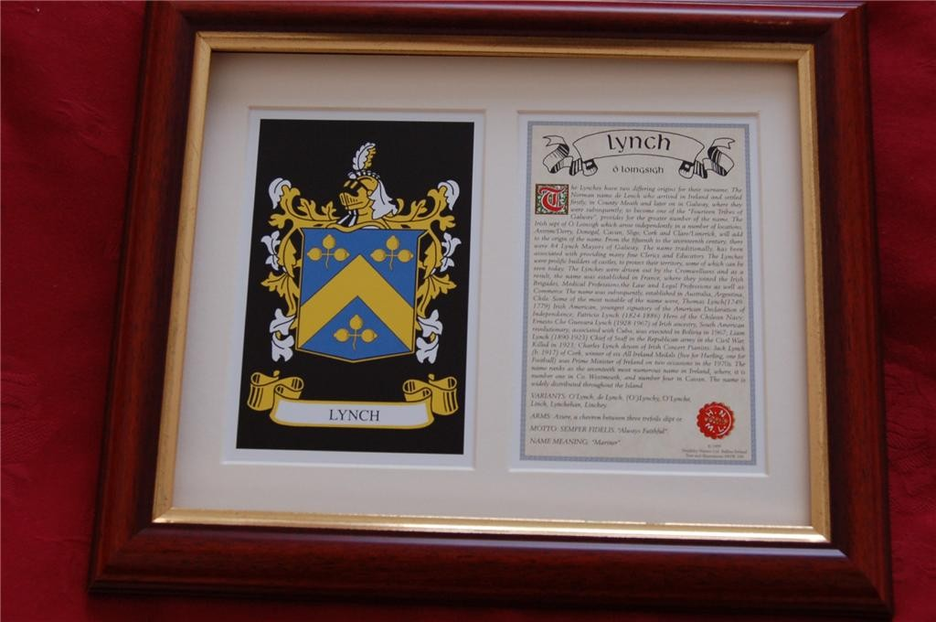 LYNCH-Family-Coat-of-Arms-Crest-History-Available-Mounted-or-Framed