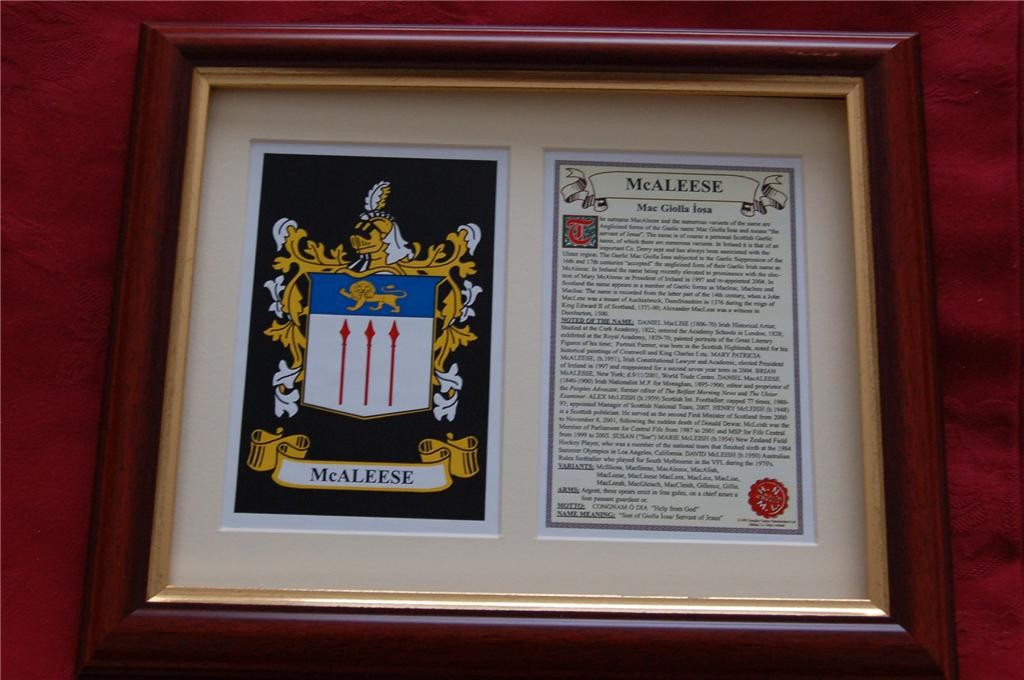 MACALEESE-Family-Coat-of-Arms-Crest-History-Available-Mounted-or-Framed