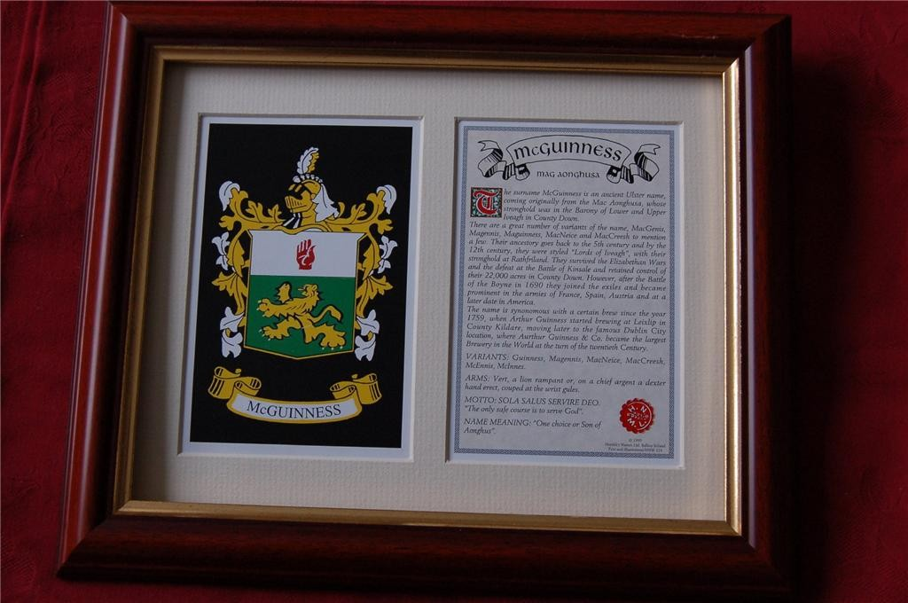 MCGUINNESS-Family-Coat-of-Arms-Crest-History-Available-Mounted-or-Framed