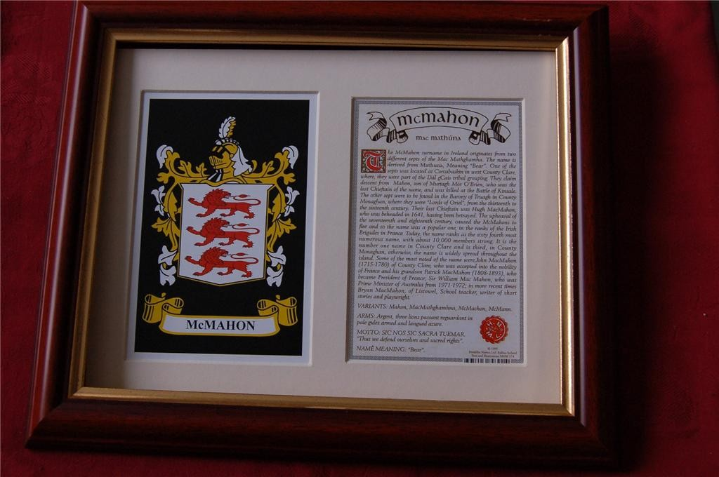 MCMAHON-Family-Coat-of-Arms-Crest-History-Available-Mounted-or-Framed