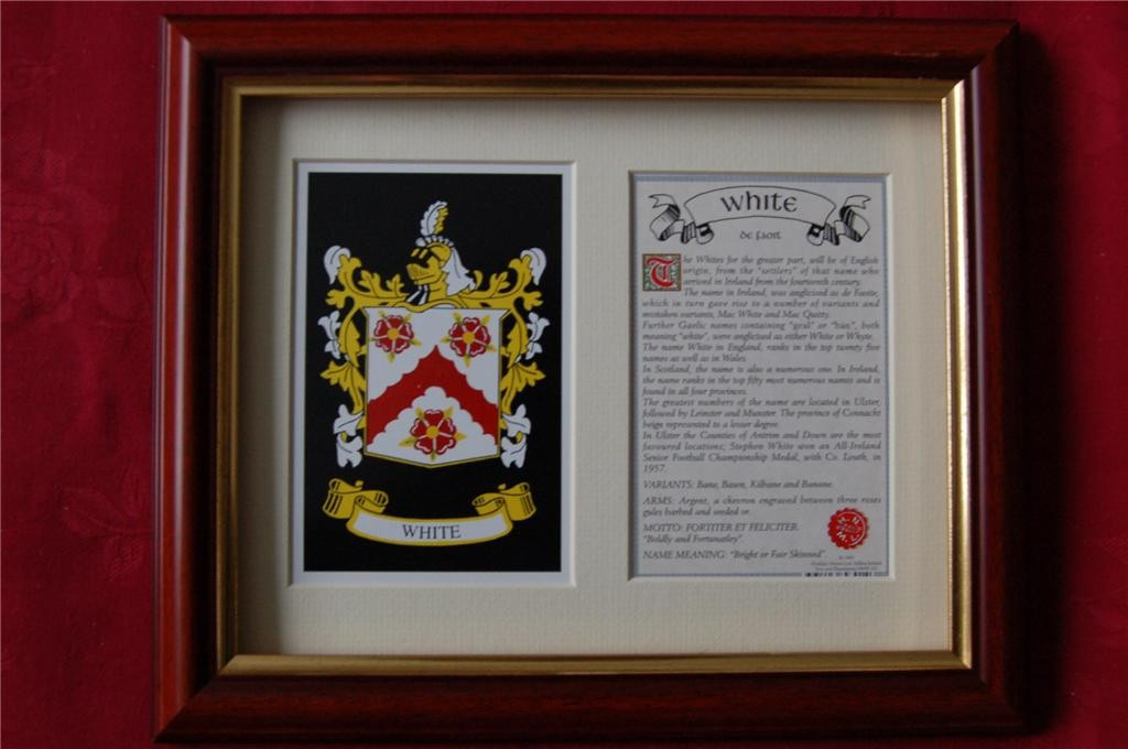 WHITE-Family-Coat-of-Arms-Crest-History-Available-Mounted-or-Framed