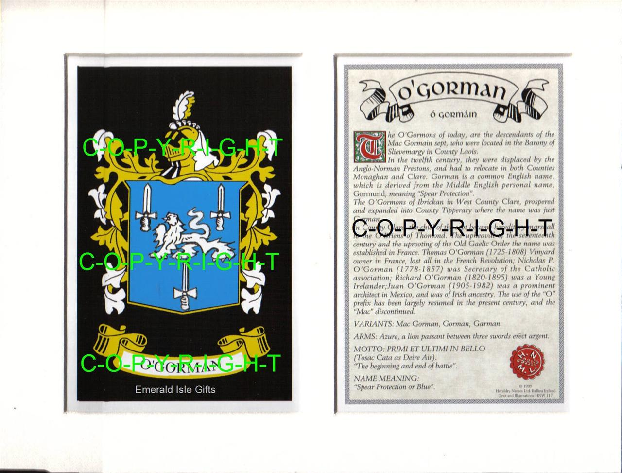 O-039-GORMAN-Family-Coat-of-Arms-Crest-History-Available-Mounted-or-Framed