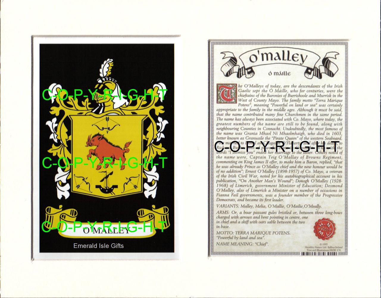 O-039-MALLEY-Family-Coat-of-Arms-Crest-History-Available-Mounted-or-Framed