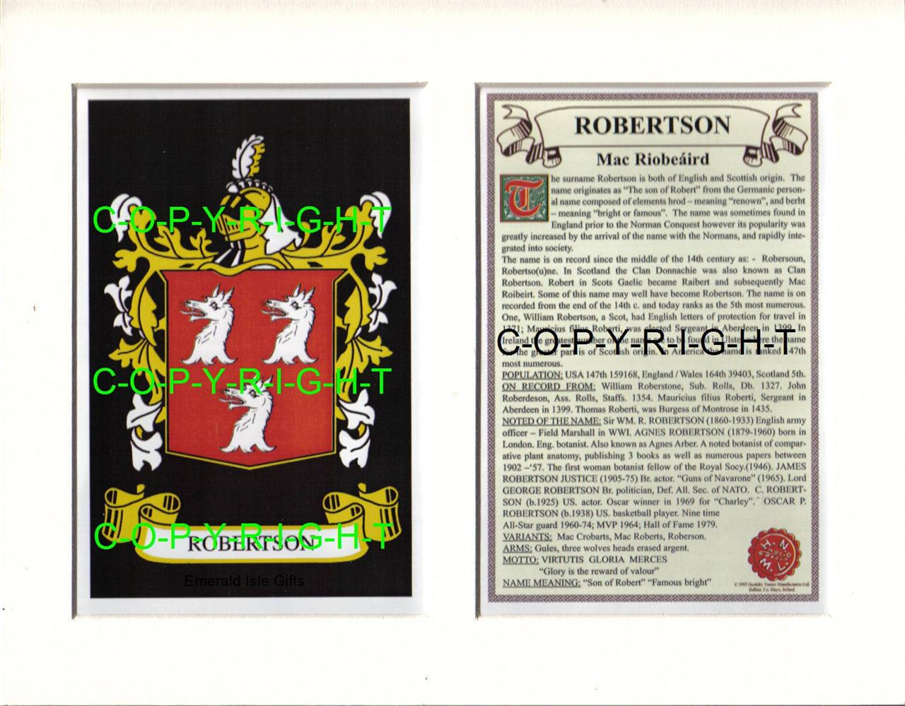 ROBERTSON-Family-Coat-of-Arms-Crest-History-Available-Mounted-or-Framed