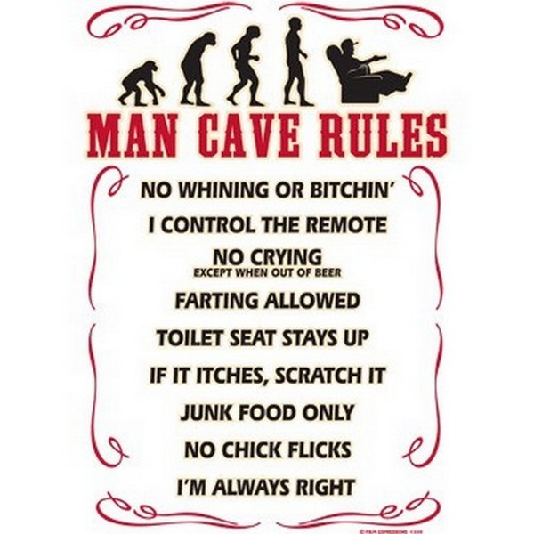 Classic Man Cave Quotes : Funny man cave rules no whining bitchin crying farting