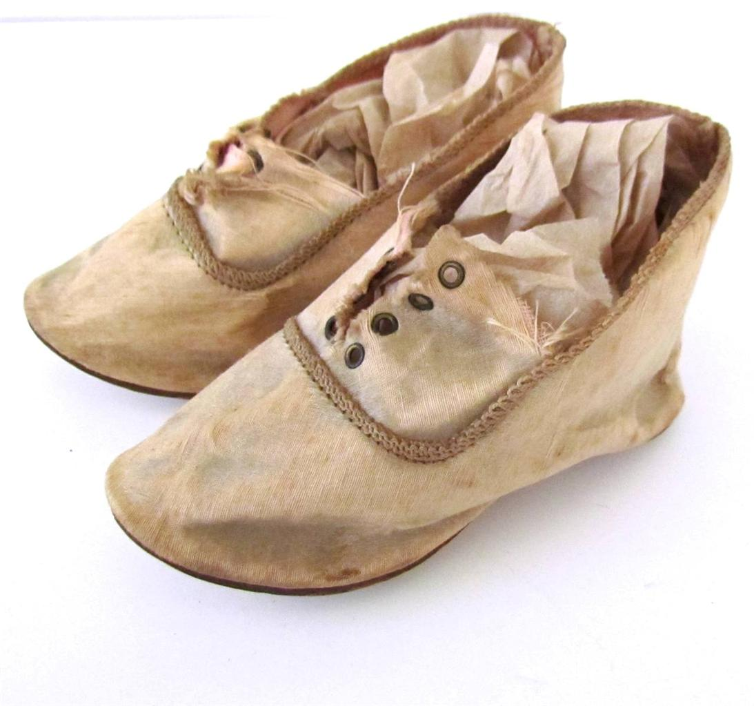 antique silk doll shoes size 12 barely pink ebay
