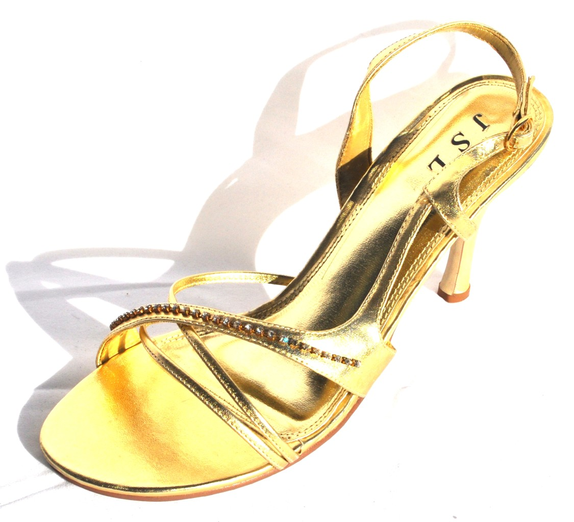Gold High Heel Slingback Womens Evening Dress Shoes #9040 (Retail $88