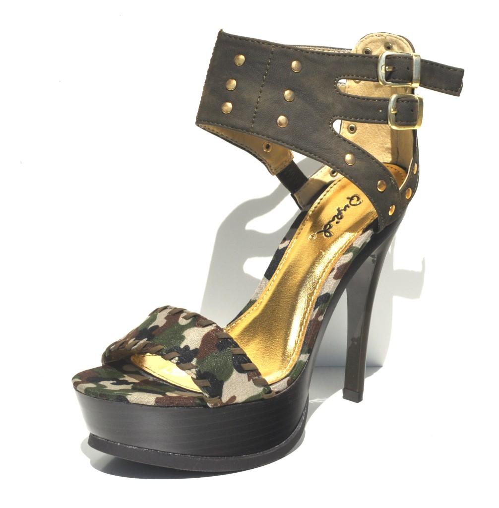 qupid olive camouflage womens high heel slingback