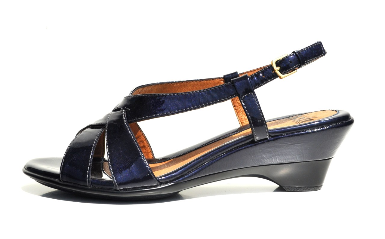sofft navy patent leather womens sandals designer wedge