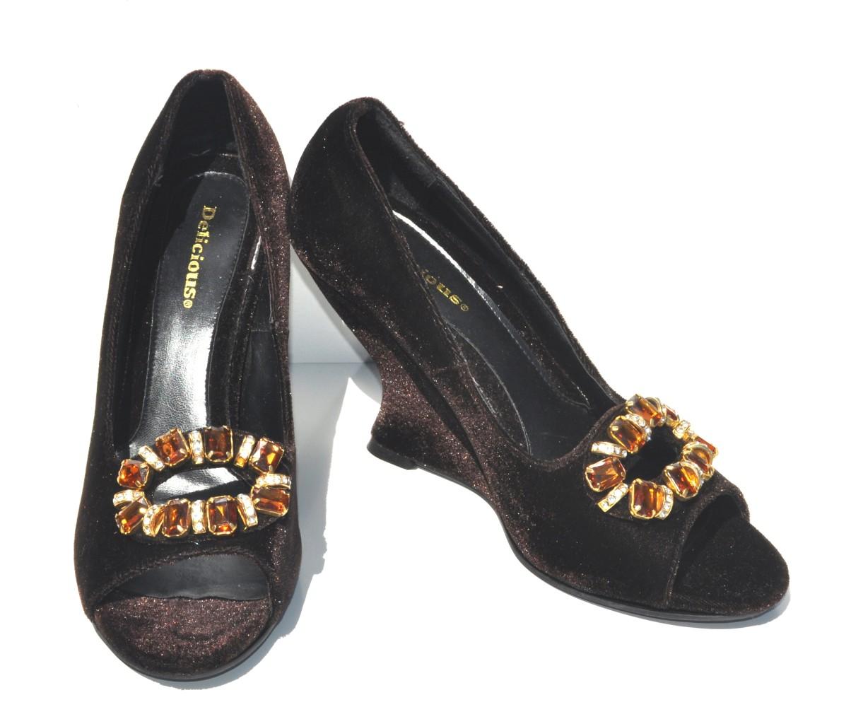delicious brown velvet open toe high heel platform womens
