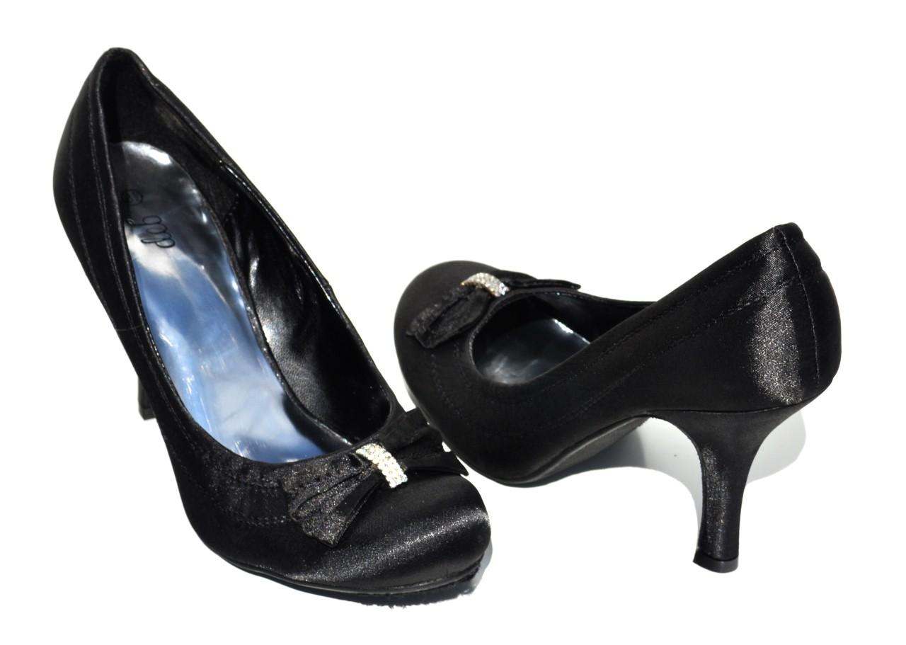 deb black satin bling bling high heel womens shoes