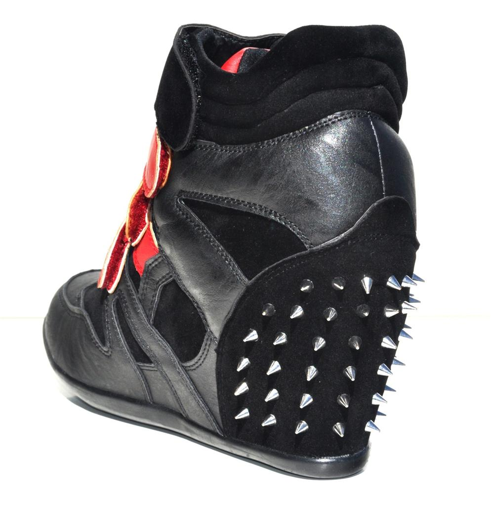 womens black faux leather high top wedge heels