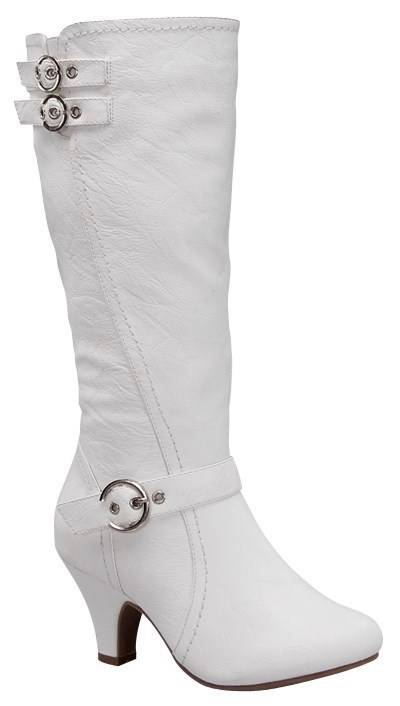 new womens mid knee calf faux leather white buckle zip