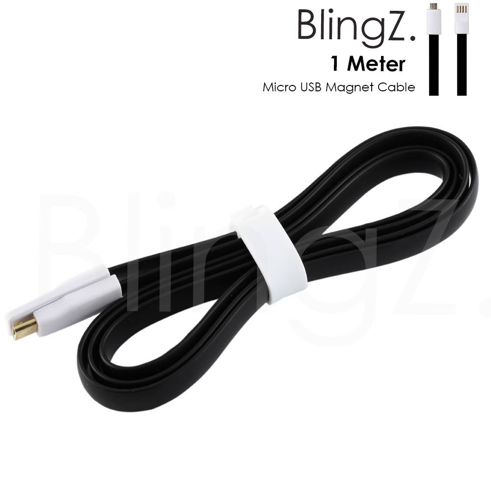 1M Micro USB Flat Magnet Cable For Samsung Nokia Lead Charging Data Sync Cable