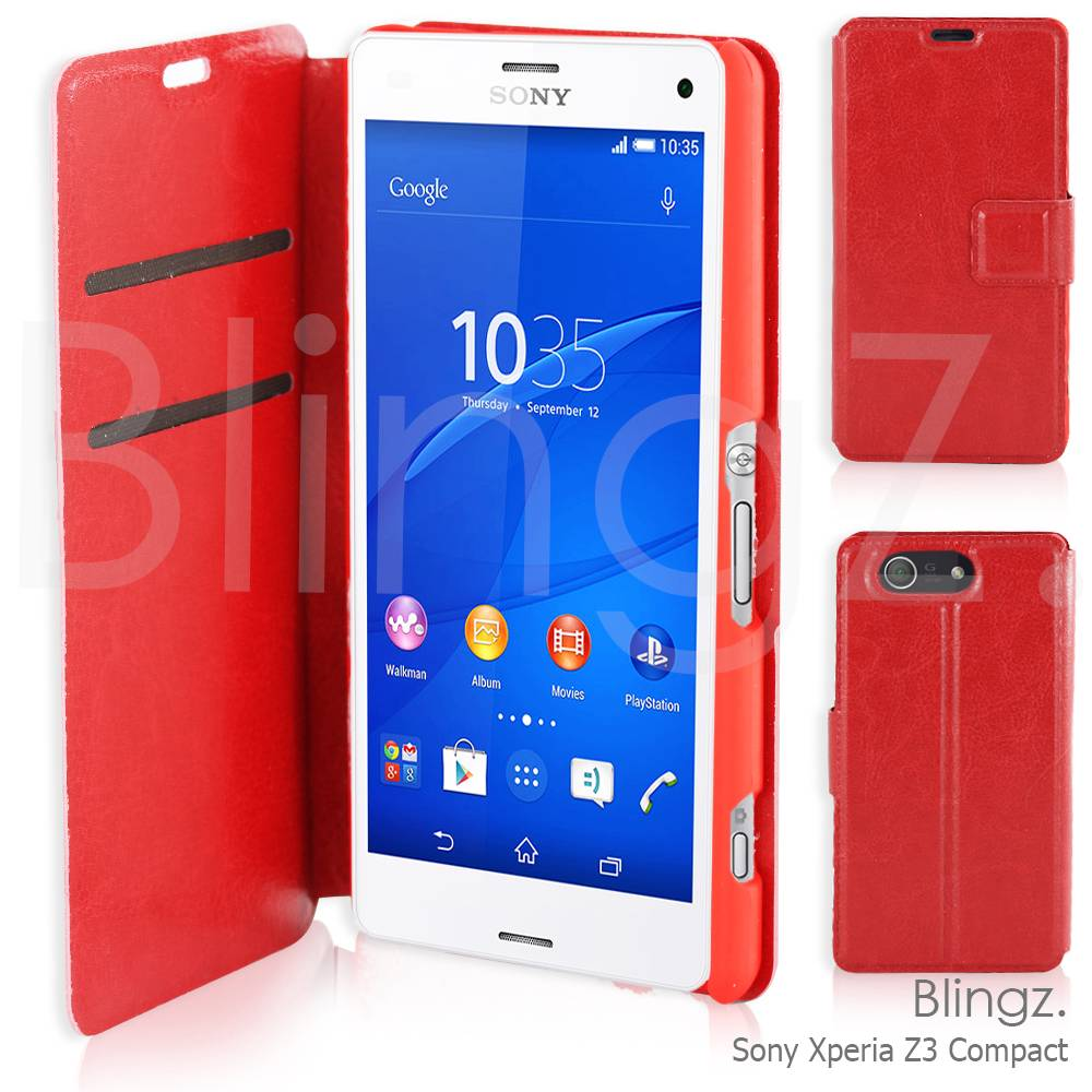 Premium Luxury Leather Wallet Case Cover Flip Cover for Sony Xperia Z3 Compact