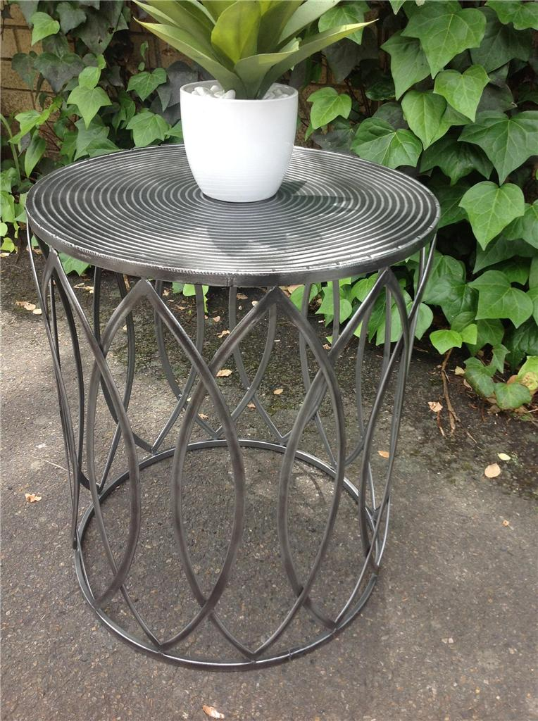 New Industrial Retro Pewter Metal Drum Round Side Table Stool Bedside Coffee Ebay
