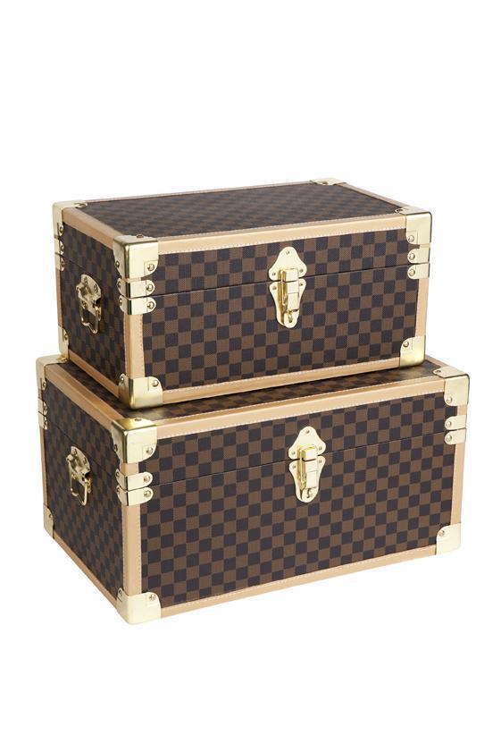 New set 2 vintage style steamer trunks decorative boxes - Decorative trunks and boxes ...