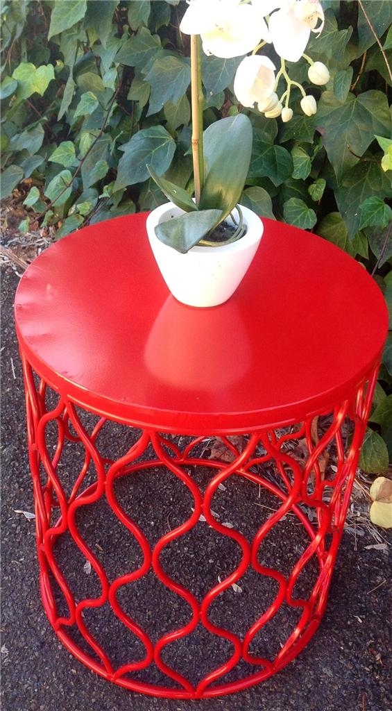 New Lg Industrial Retro Red Metal Drum Round Side Table Stool Bedside Coffee Ebay