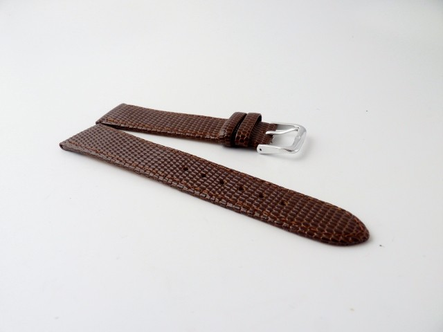 16mm-18mm-22mm-Gents-Lizard-Grained-Leather-Watch-Strap-Gilt-Silver-Buckle