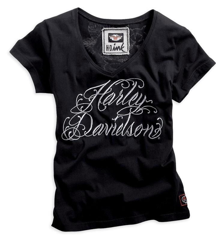 Harley Davidson Womens Stunning Black Skull Roses S M XL T Shirt FREE