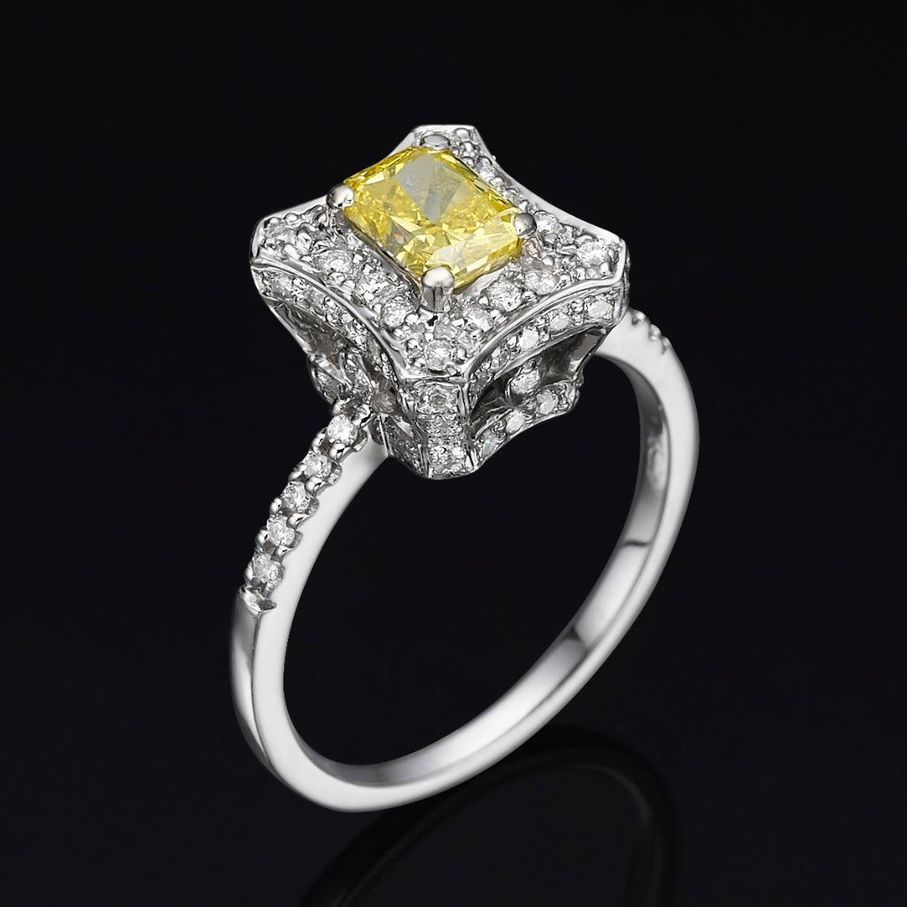 Canary Yellow Engagement Rings Lab Created  K White Gold