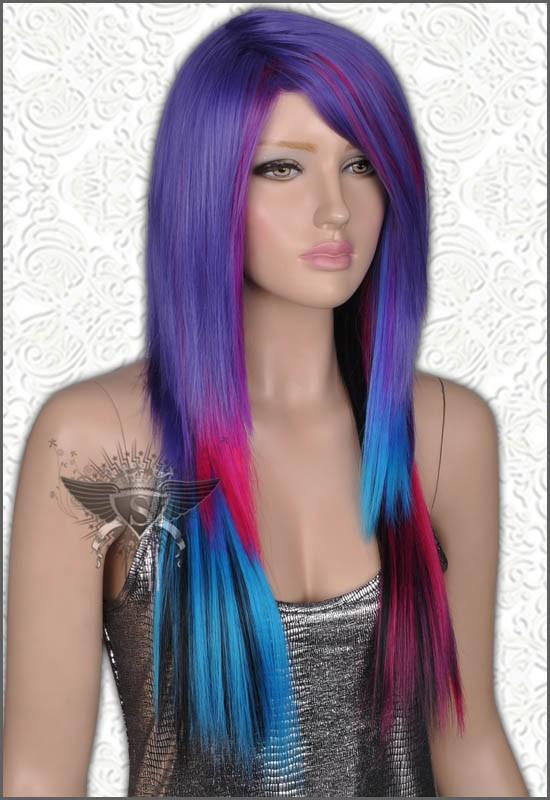GW477 Purple Black Rock Psychobilly Lady Full Hair Wig Fashionable