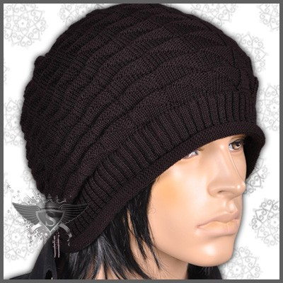 am979 dunkelbraun hood beanie m nner h te m tzen stricken punk rock winter ebay. Black Bedroom Furniture Sets. Home Design Ideas
