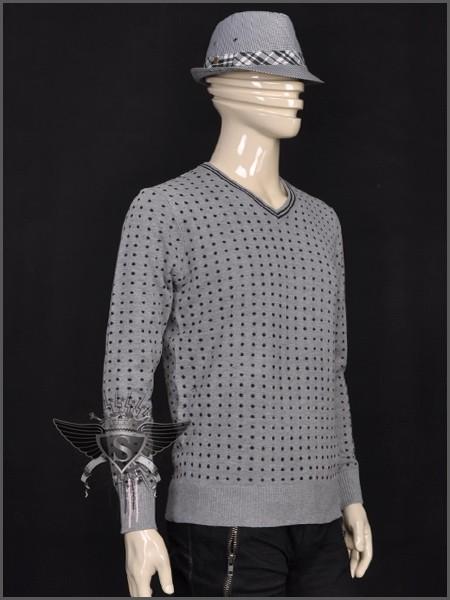 CM Black Grey EMO Soft Warm Men Long Sleeve Shirt Sweater Snowflake