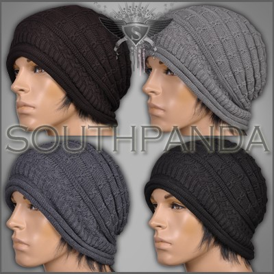 am schwarz dunkelbraun grau herren long beanie h keln m tze warme knittern gotik ebay. Black Bedroom Furniture Sets. Home Design Ideas