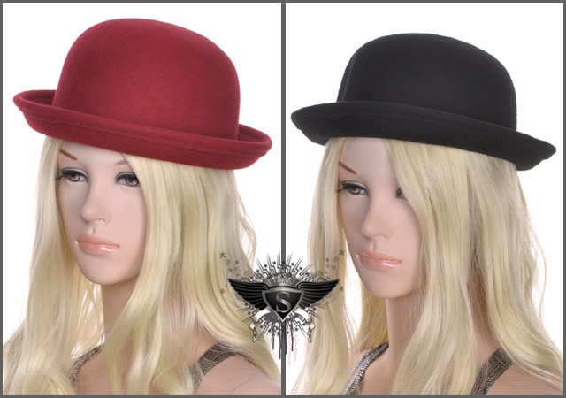 SH Red Black Gathering Women Fedora Bowler Derby Hat Cap Gorgeous Party Voguish