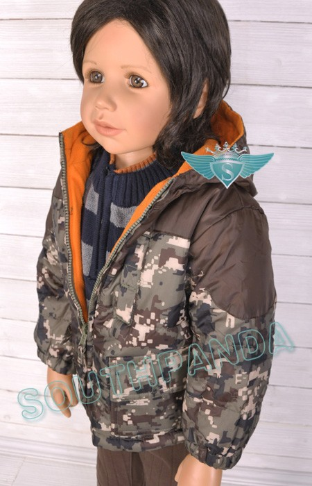 Red Two sided Kids Army Uniform Hoodie Jacket Coat Cosy Warm
