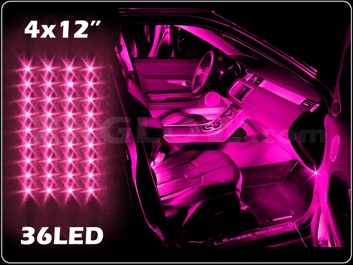 pink 36 led car interior seat dashboard trunk underglow neon accent light 2zone ebay