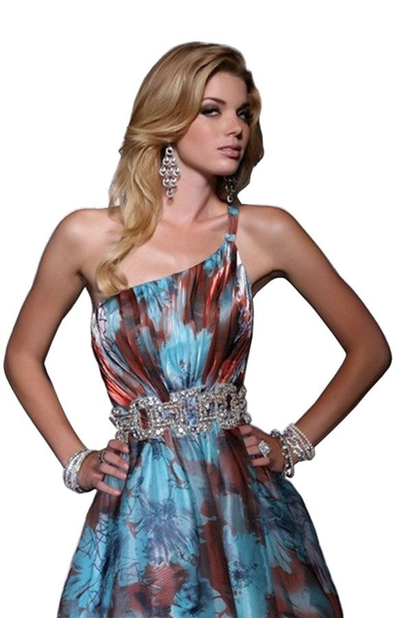 Haute E23055 Print One Shoulder Jewel Embellished Evening Gown Sizes 8