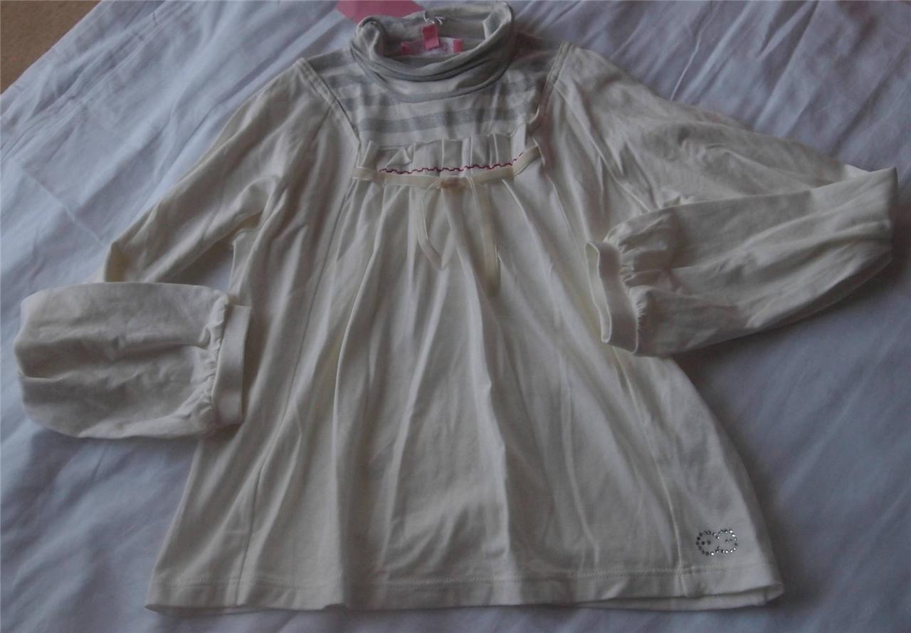 ESCADA-Designer-Girls-Sz-8-9-yrs-Long-Sleeve-cream-top-NWT