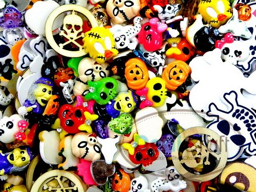 Mix-Lot-Skeleton-Halloween-Resin-Flatback-Scrapbooking