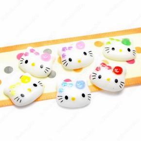 B1864 (40 pcs) Mix Mini Hello Kitty Flower 12MM Face Resin Flatback