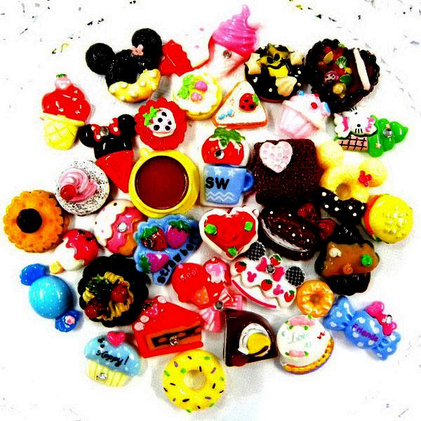 ML003 x 20/35/70 pcs Mix Resin Food Sweet Cake Cookie Flatback Scrapbooking Bow