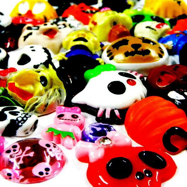 ML004 x UPICK Lot Mix Halloween Skeleton Skull Horror Flatback Resin Scrapbook